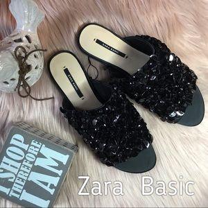 ZARA TRAFALUC BLACK SEQUINED SATIN CANVAS SANDALS